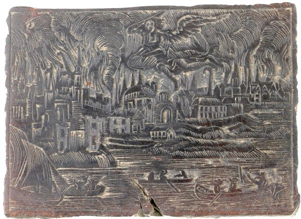 164: 1760 Printing Woodblock - Great Boston Fire