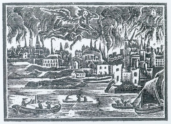 164: 1760 Printing Woodblock - Great Boston Fire - 3