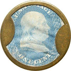 853: Encased Postage Stamps, 1¢, AYERS SARSASPARILLA