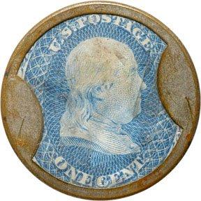 854: Encased Postage Stamps, 1¢, AYERS SARSAPARILLA