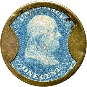 855: Encased Postage Stamps, 1¢, JOSEPH L. BATES