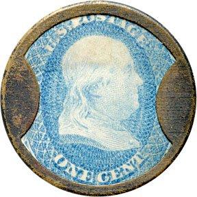 856: Encased Postage Stamps, 1¢, J. GAULT, Ribbed