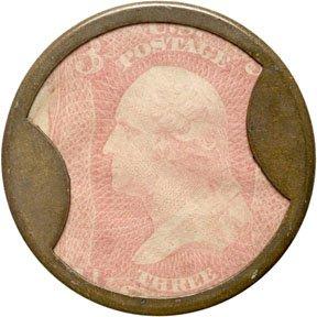 858: Encased Postage Stamps, 3¢, TAKE AYERS PILLS