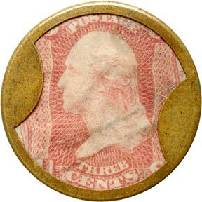 859: Encased Postage Stamps, 3¢, AYERS SARSAPARILLA