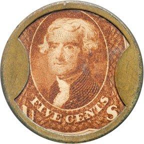 868: Encased Postage Stamps, 5¢, J. GAULT, Plain Frame