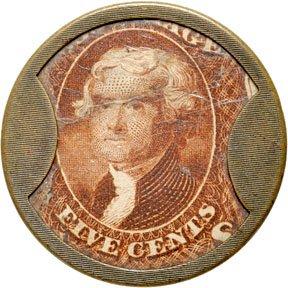 869: Encased Postage Stamps, 5¢, J. GAULT, Rib Frame