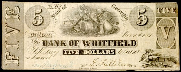 913: Confederate Currency, Dalton, GA, $5 Note
