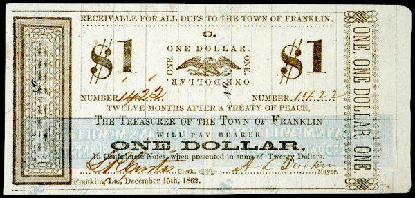939: Franklin, LA, Treasurer of the Town, $1