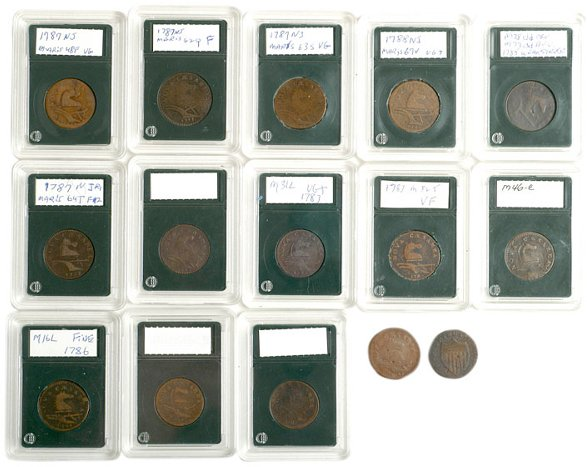 1233: Colonial Coinage, 15 NJ Coppers - Mixed Dates
