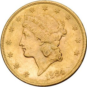 1375: 1884-S Liberty Head $20 Gold Double Eagle, MS-62