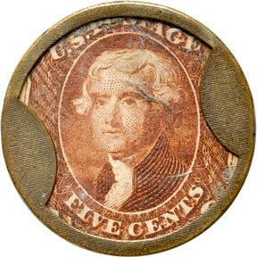 870A: Encased Postage Stamps, 5¢, HUNT & NASH