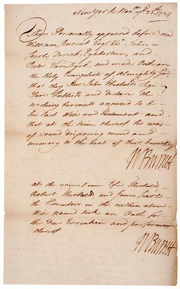 2005: WILLIAM BURNET Signed Document from 1724