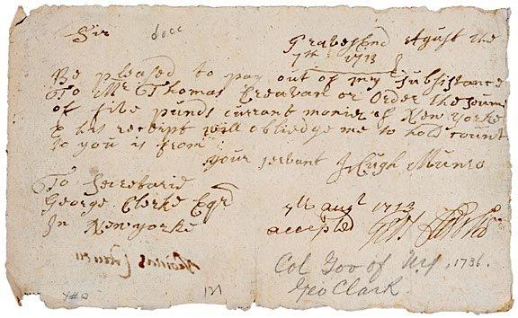 "2008: GEORGE CLARKE Document Signed, 1713"""
