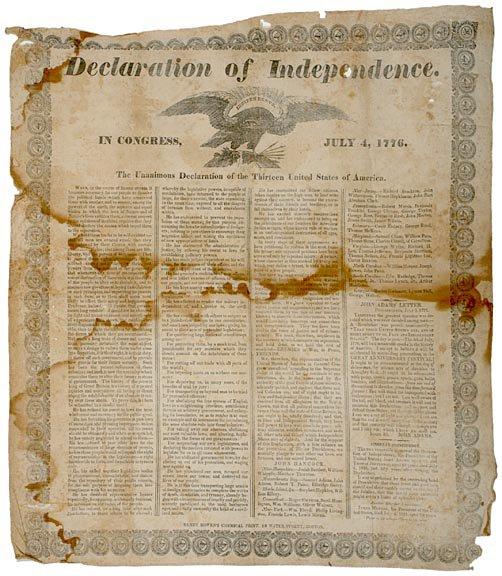 """2013: DECLARATION OF INDEPENDENCE, Silk Broadside1835"""""""
