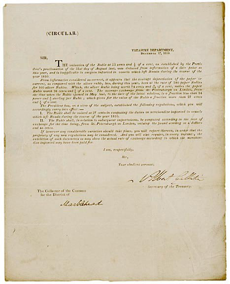 "2019: ALBERT GALLATIN Signed Document, 1810"""