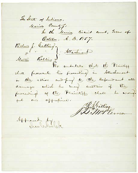 2020: RICHARD J. GATLING Signed Document 1857