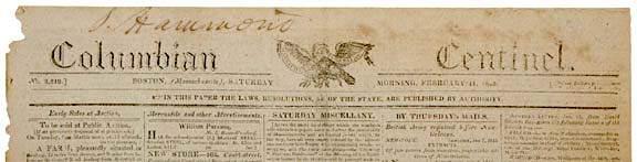 2227: 1815 Boston Newspaper - Battle of New Orleans