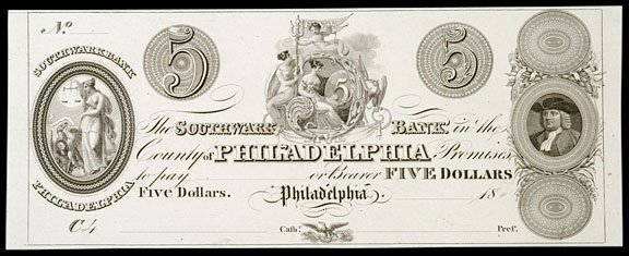 "2728: Philadelphia PA, Southwark Bank, $5, Proof"""