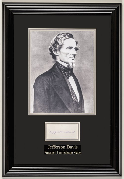 JEFFERSON DAVIS Full Signature in Ink on Card