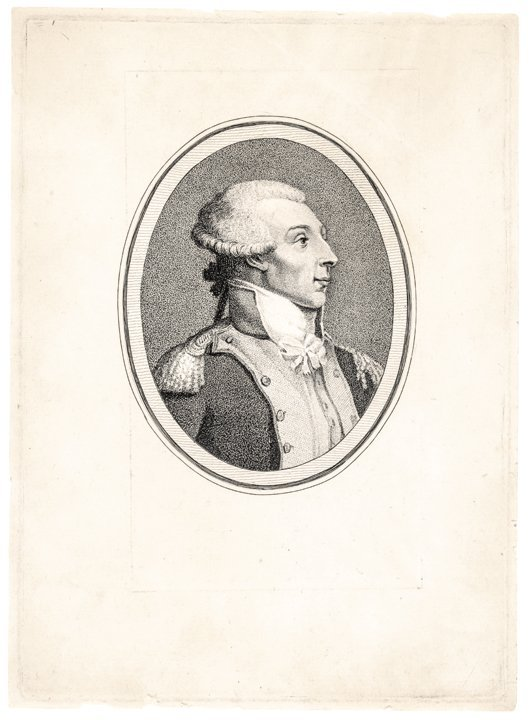 C 1792 Engraved Portrait Of Marquis De Lafayette