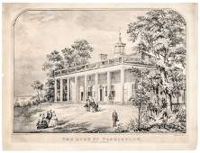 Currier  Ives Lithograph The Home of Washington