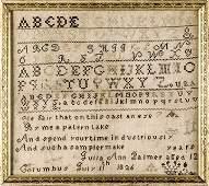 1826 Dated Columbus Ohio Hand-Wrought Sampler
