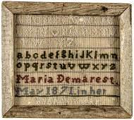 1801-Dated Hand-Wrought Needlework Sampler