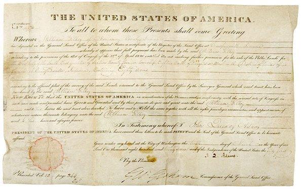 2: JOHN QUINCY ADAMS, Signed Land Grant, 1827