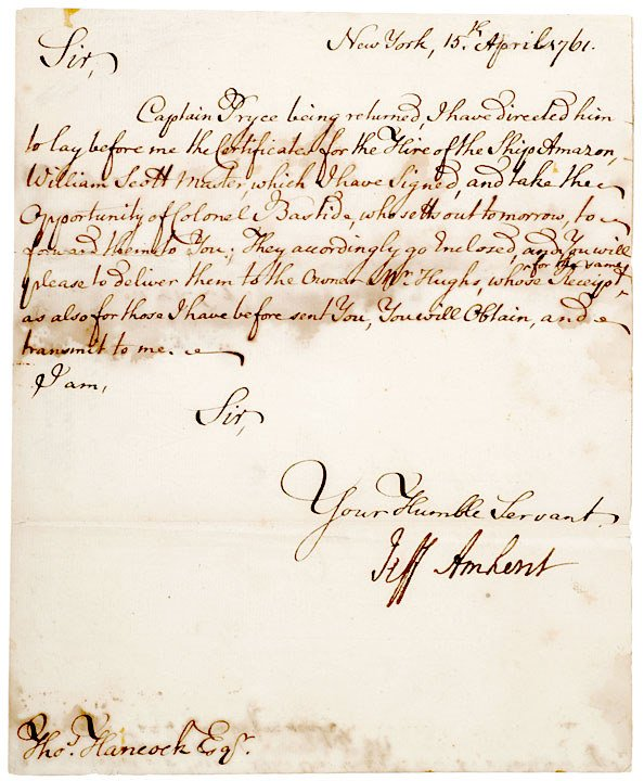6: JEFFREY AMHERST, 1761 French & Indian War Letter