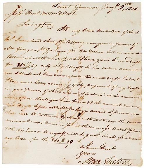14: MOSES AUSTIN, Autograph Letter Signed 1810