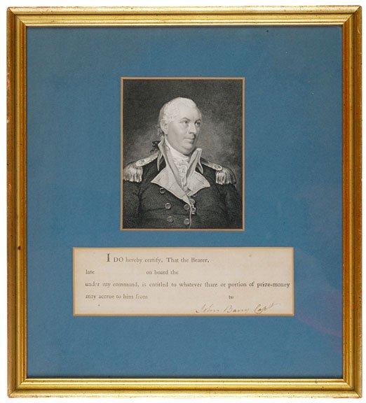 15: JOHN BARRY, Revolutionary War Captain, Document