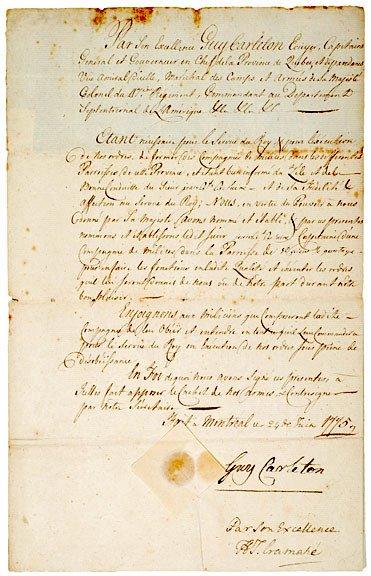 21: SIR GUY CARLETON, Manuscript Document Signed 1775