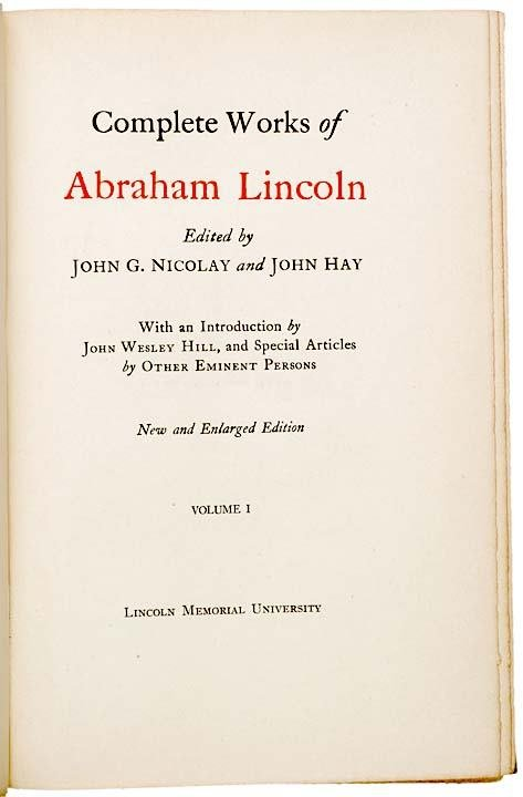 342: 1894 THE COMPLETE WORKS OF ABRAHAM LINCOLN - 3