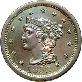 891: Large Cent, Mint State-60, 1850