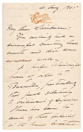 1901-dated, Autograph Letter By George Dewey