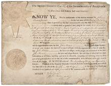 1787 BENJAMIN FRANKLIN Signed Penn. Land Grant