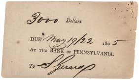 Rare Three Day Note From Bank Of Pennsylvania