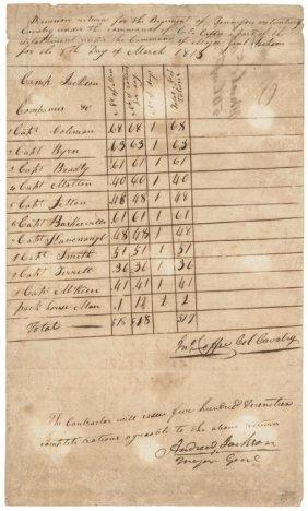 1813 Gen Andrew Jackson Autographed Document