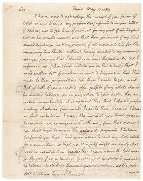 1789 Thomas Jefferson Autograph Letter, His Debt