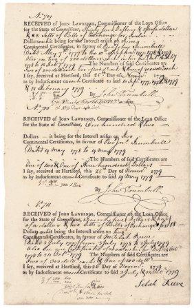 Reverend John Trumbull (1715-1787) Ct. Vouchers