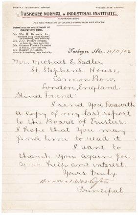Booker T. Washington Manuscript Letter Signed