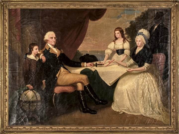 c 1840 Oil Painting George Washington and Family