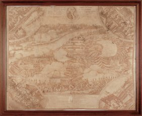 1815 Battle Of New Orleans Printed Linen Textile