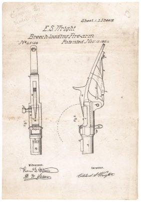 1864 E.s Wright's Breech-loading Firearm Patent