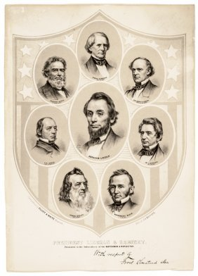 C 1861 Civil War Lithograph Of Lincoln's Cabinet