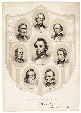 C 1861 Civil War Lithograph Of Lincoln's Cabinet