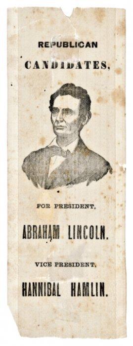 1860 Abraham Lincoln + Hannibal Hamlin Rare Silk