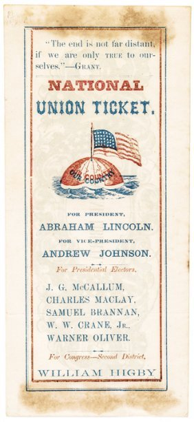 Abraham Lincoln-andrew Johnson Electoral Ticket
