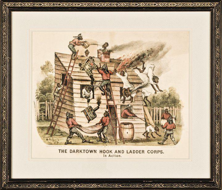 1884 Handcolored Currier + Ives Darktown Print
