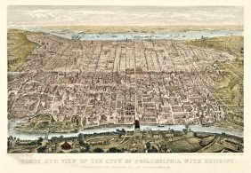 C 1860 Civil War Magnus Print City View Of Phila